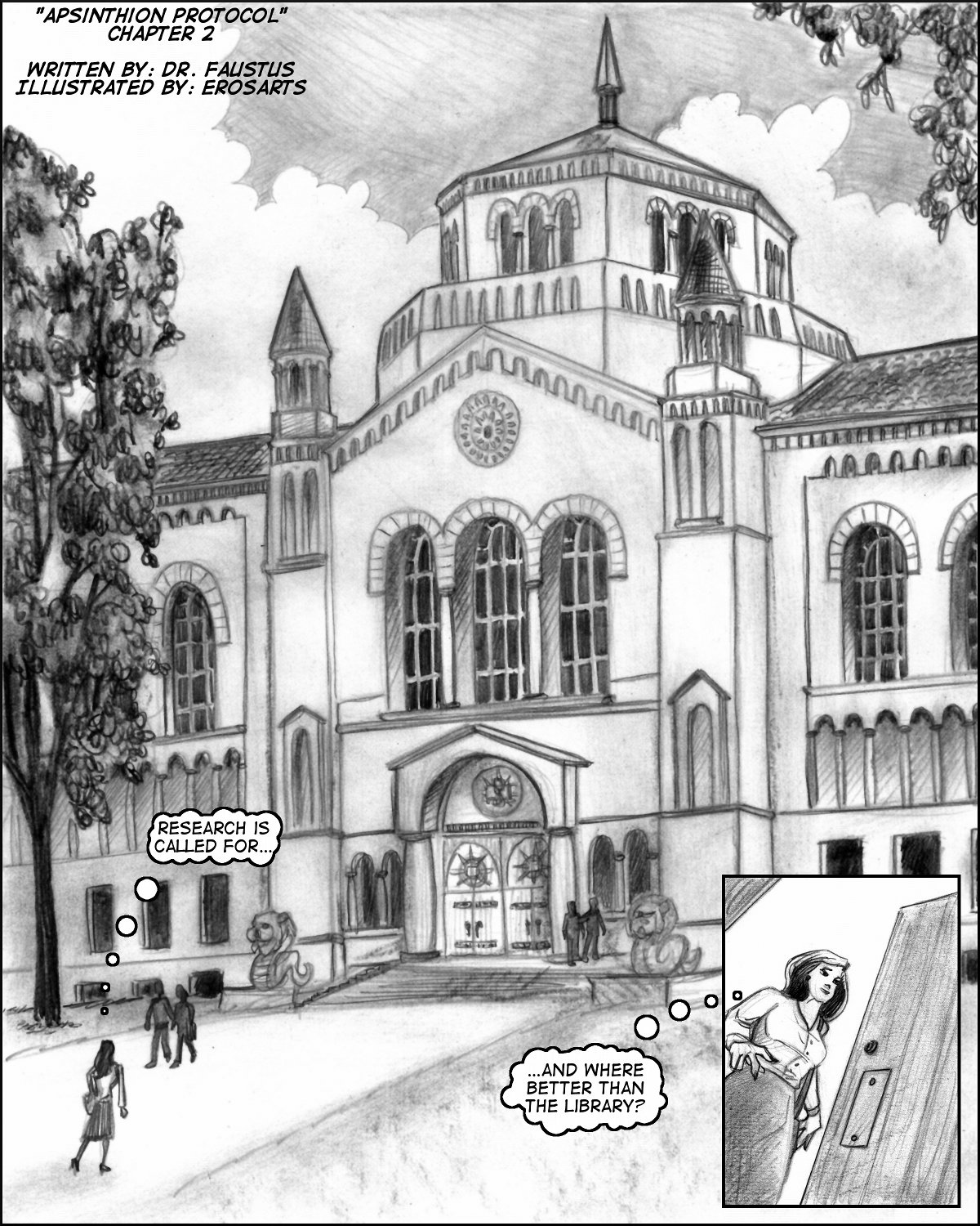 Splash panel for Chapter Two, showing the Gnosis College Library