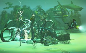 naked women engulfed in an underwater tentacles nest