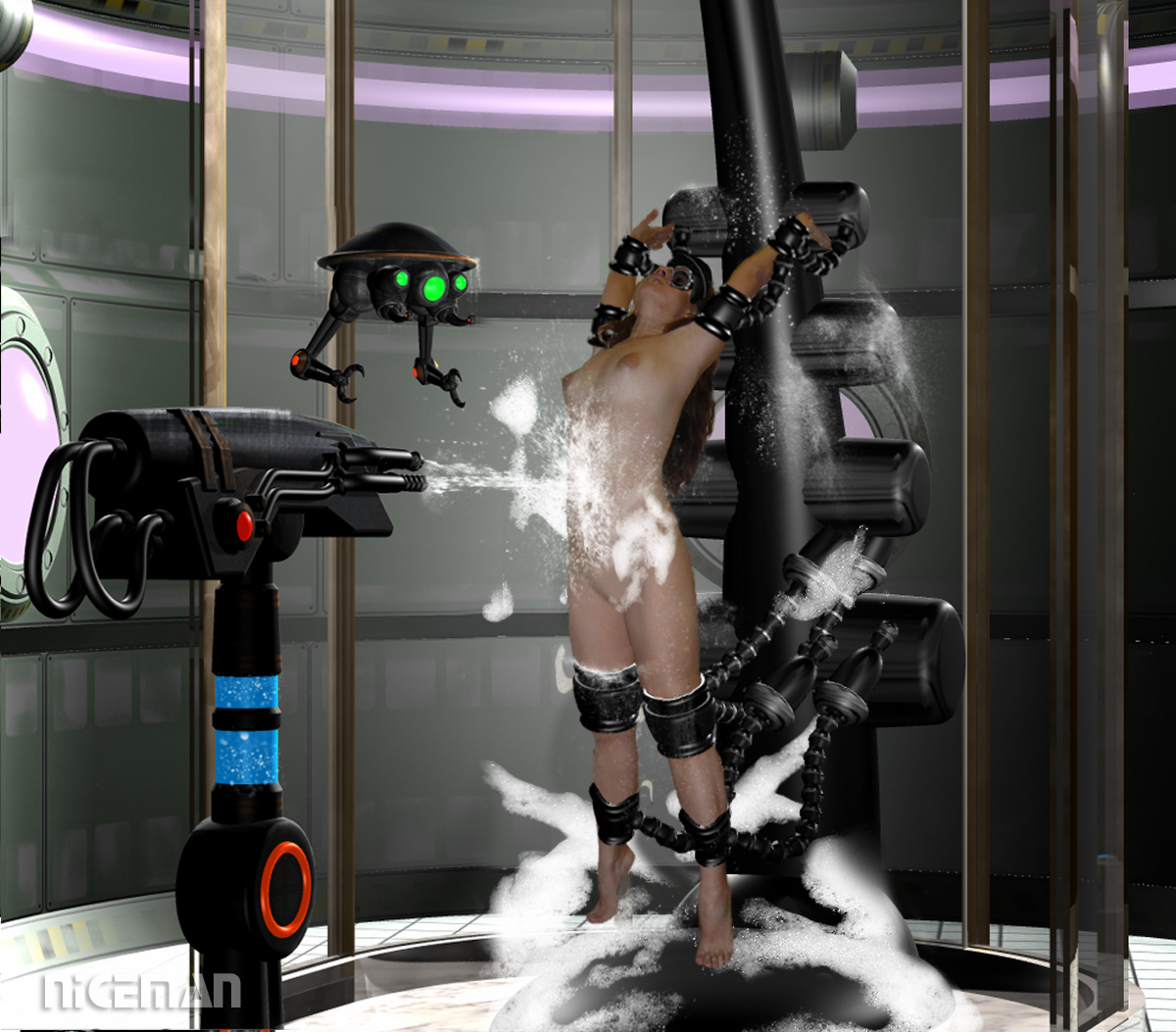 Asian Dyna gets washed by mad science robots!