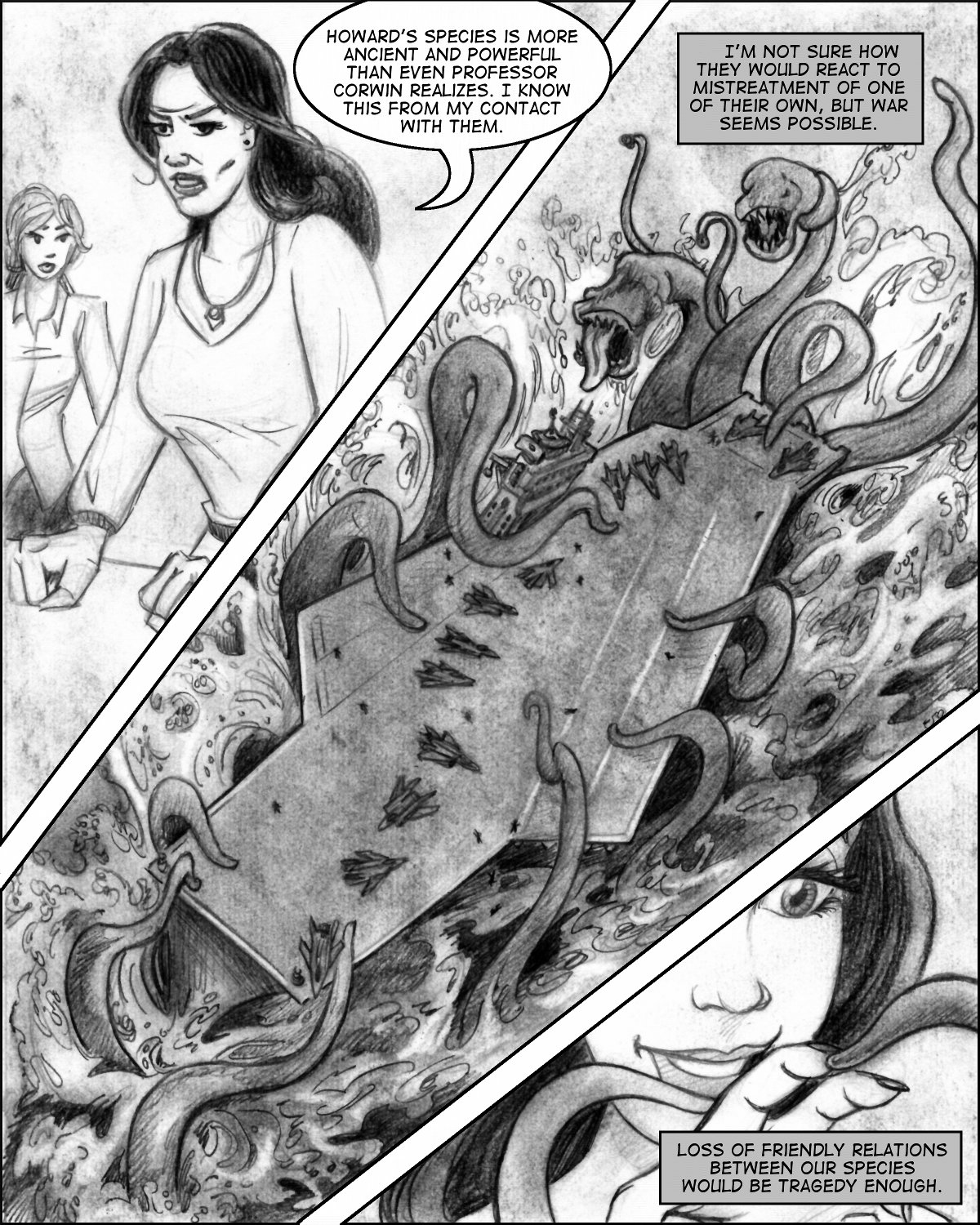 Giant tentacles attack an aircraft carrier!