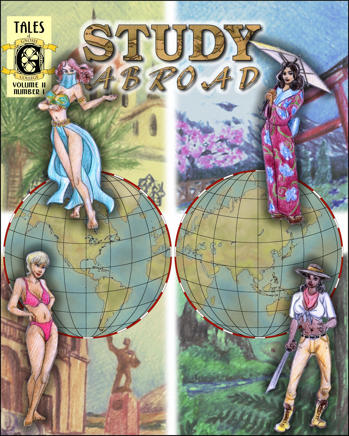 Four sexy coeds in the cover of the first issue of Study Abroad