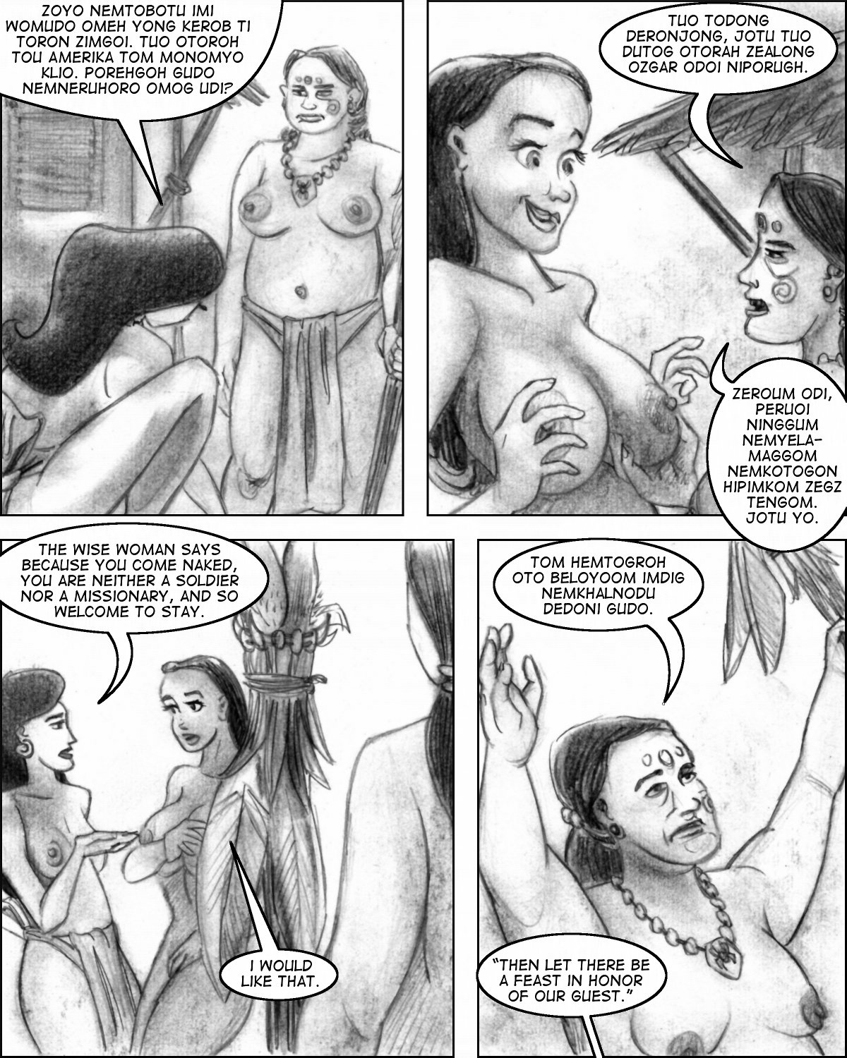 Naked Cleo gets fondled, and then welcomed, by the village Wise Woman