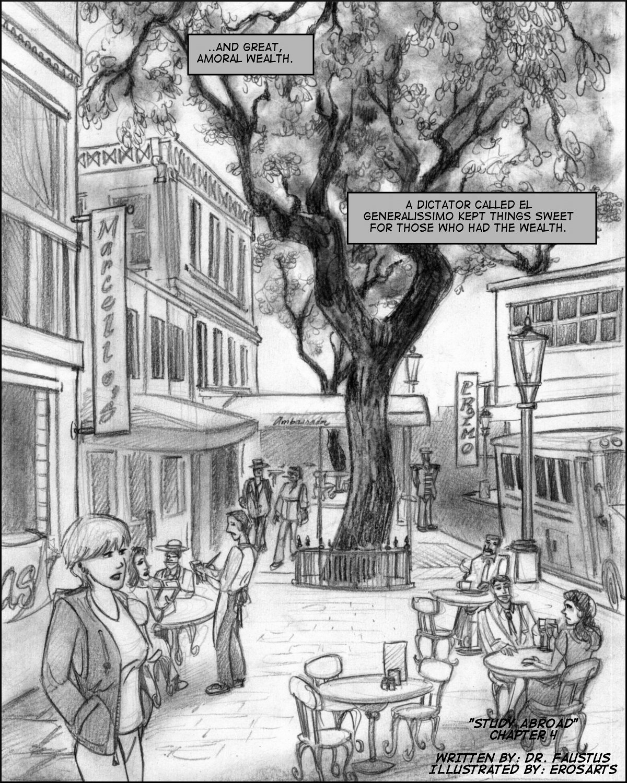Jill strolls down a pleasnt tree-lined street of cafes.