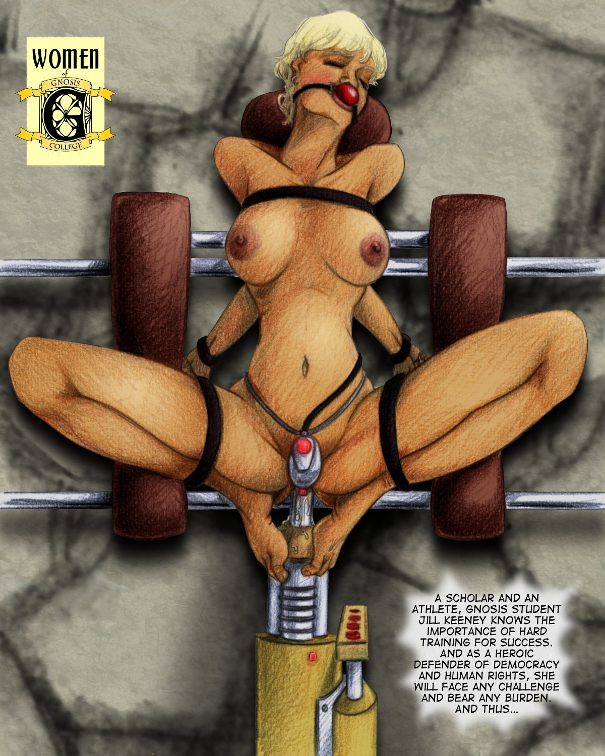 "Jill trains in a sex machine, posed for a ""Women of Gnosis"" pin-up"