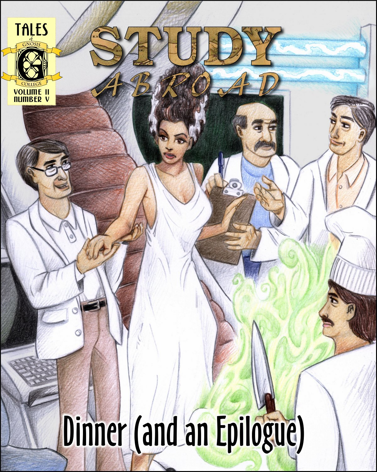 Iris Brockman depicted as the Bride of Frankenstein. What's that chef doing there?