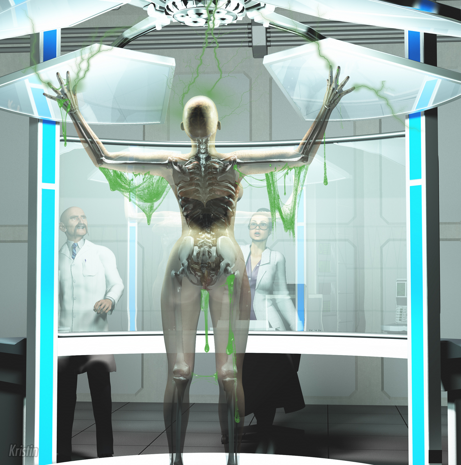 Naked coed zapped with radiation, begins to turn transparent, liquify