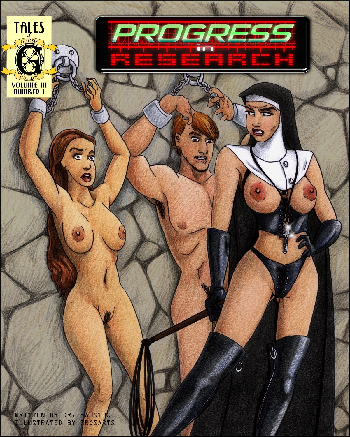 Two naked young people chained to a dungeon wall, dominated by a nun!