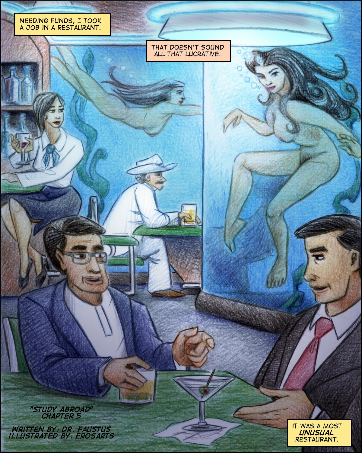The restaurant is a naked mermaid bar!