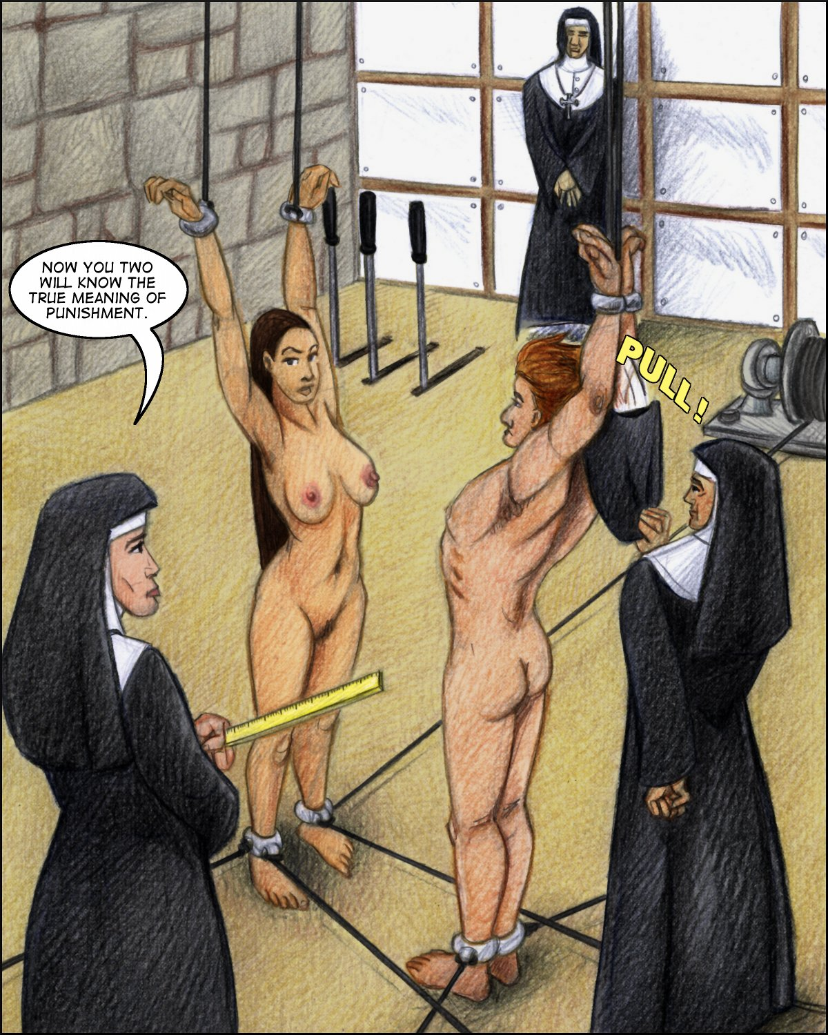 Willie and Rayna in a nuns' bondage dungeon!