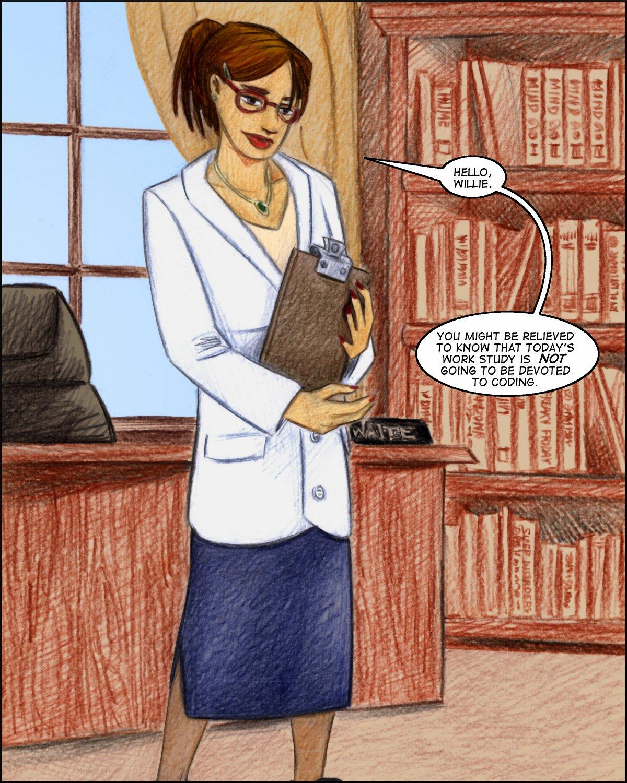 We meet Professor Rebecca Waite on a color page.