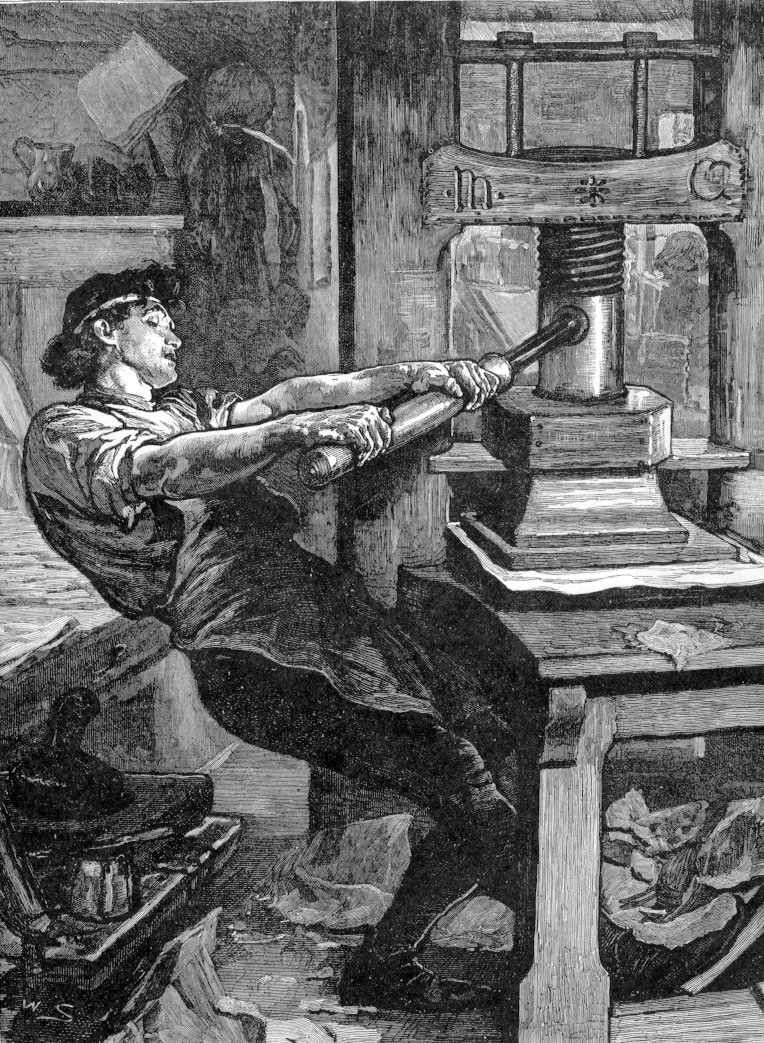 I think this is actually Caxton, not Gutenberg
