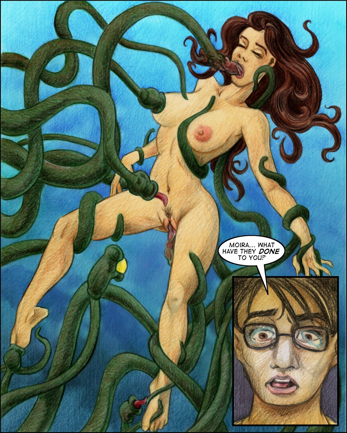 Moira gets all tentacle sexed, while Aloysius watches in disgust.