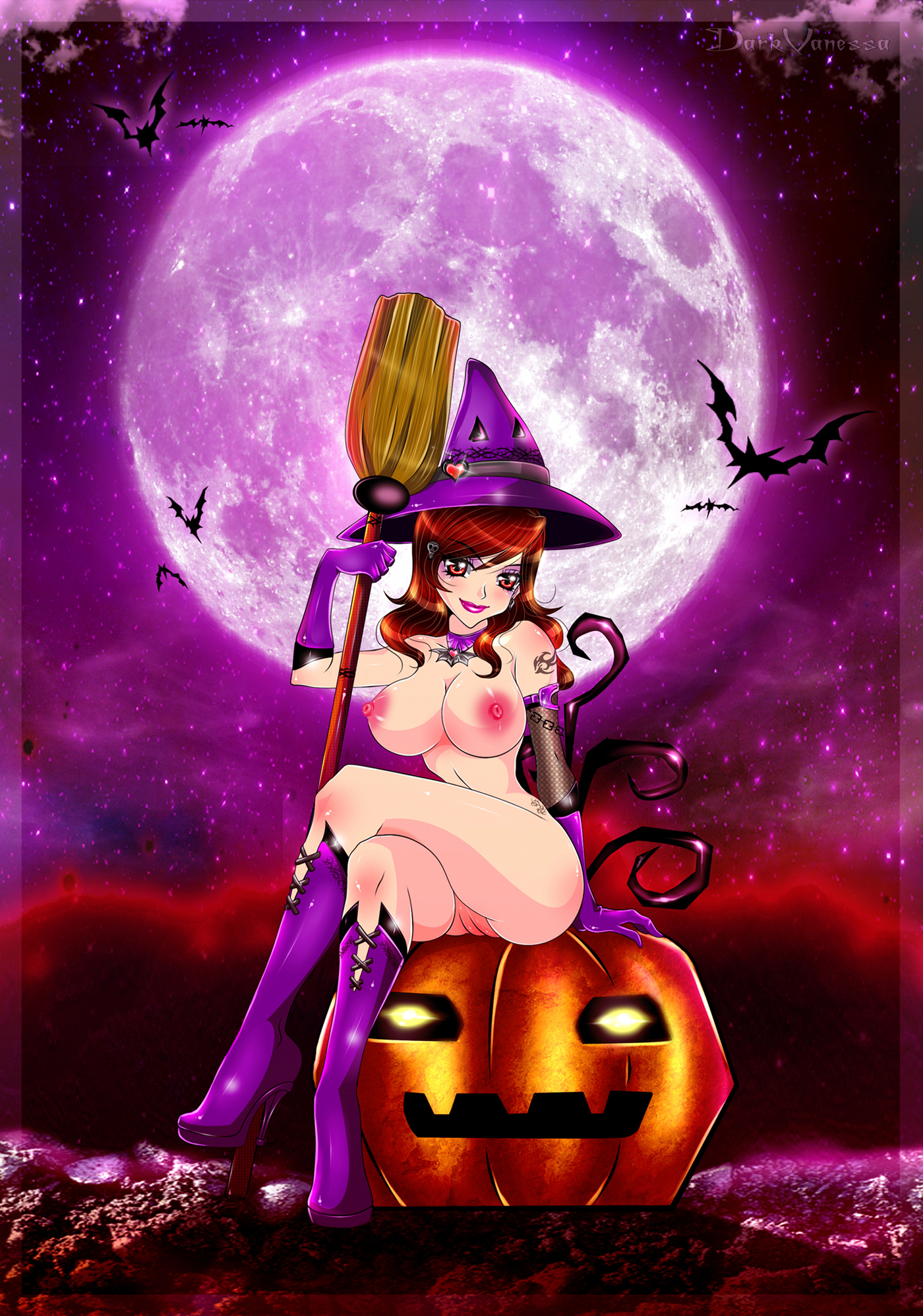 Beatufiul naked witch sits on a pumpkin under a full moon