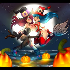 Hot witch on witch action backgrounded by the harvest moon!