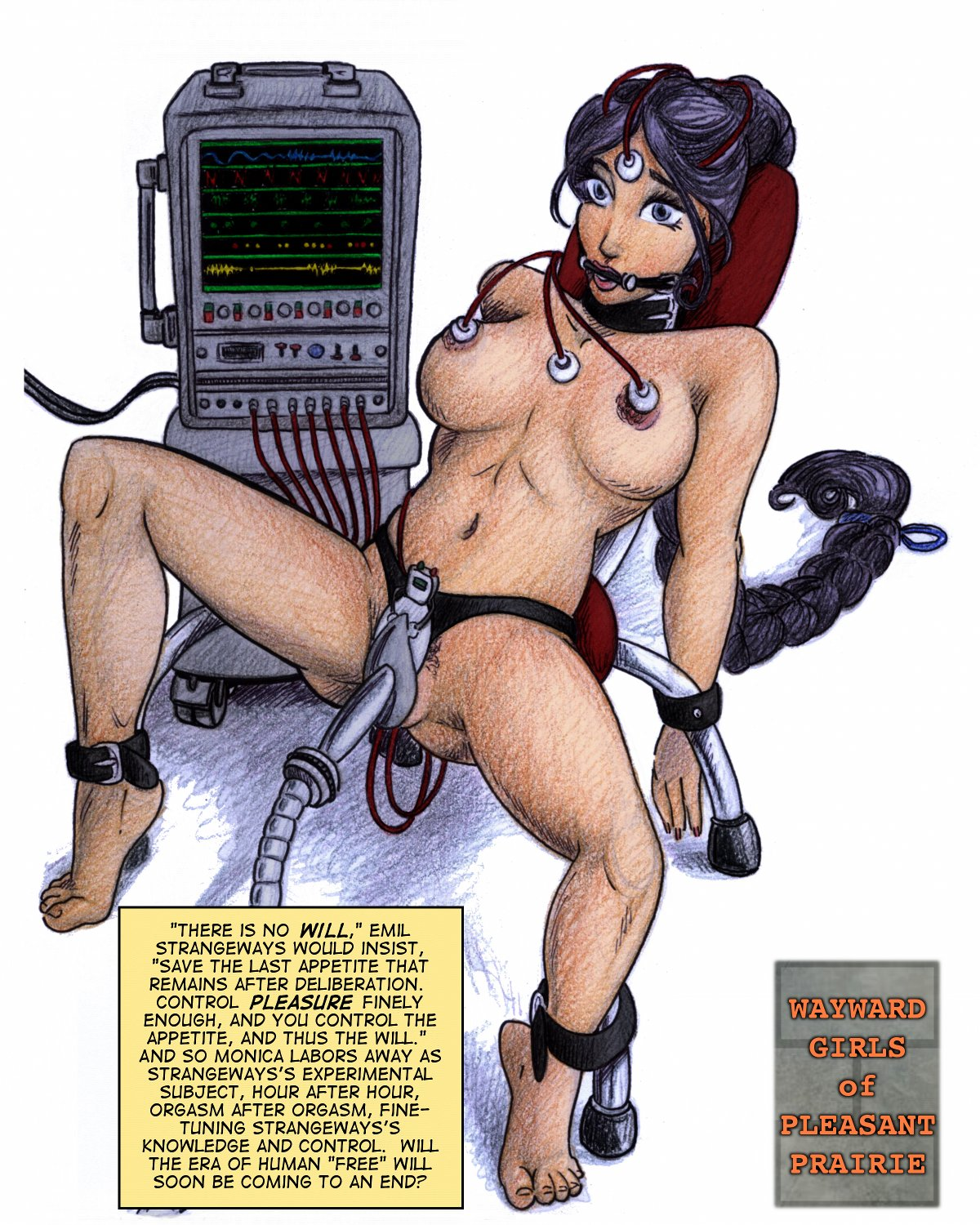 Wayward girl Monica is sexually experimented on with a machine and a monitor.