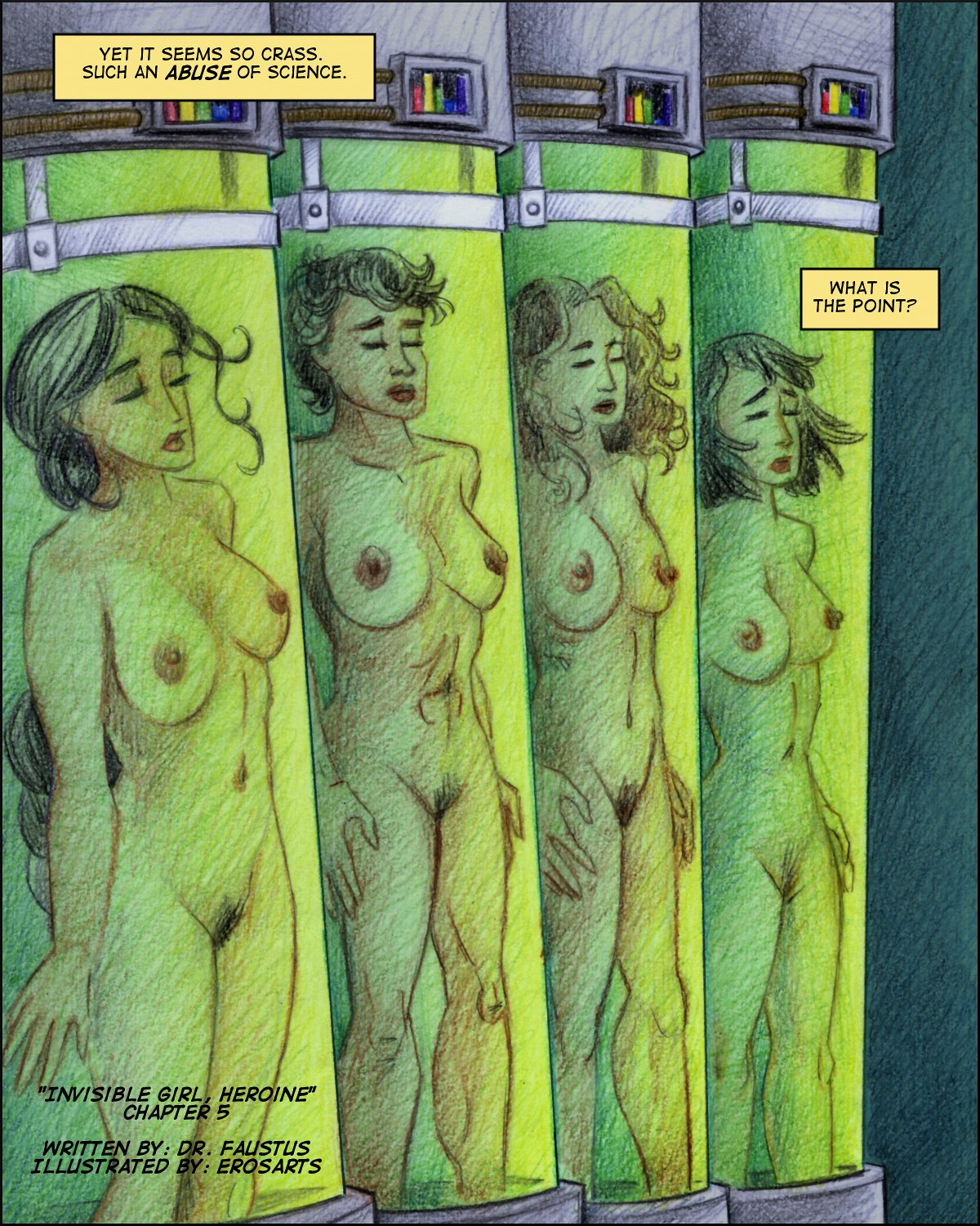 Four naked girls float in tubes, awaiting shipment out.  (Color page.)