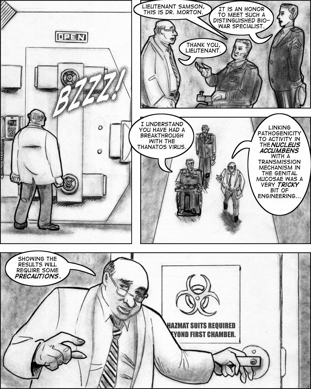 Colonel Madder and Samson visit a government biowarfare lab.