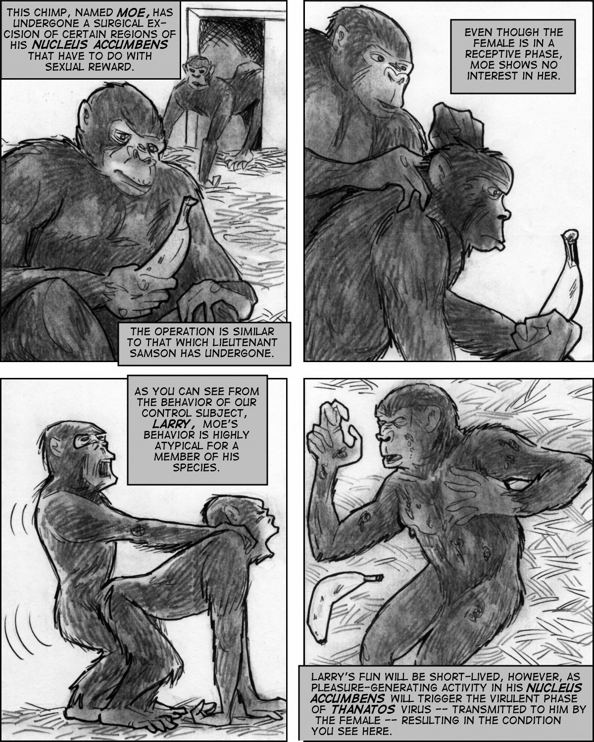 Effects of a mad science biowarfare program on chimps are revealed.