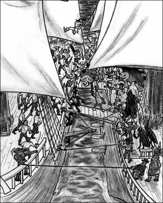 A swarm of strange characters begin boarding Bill's ship.