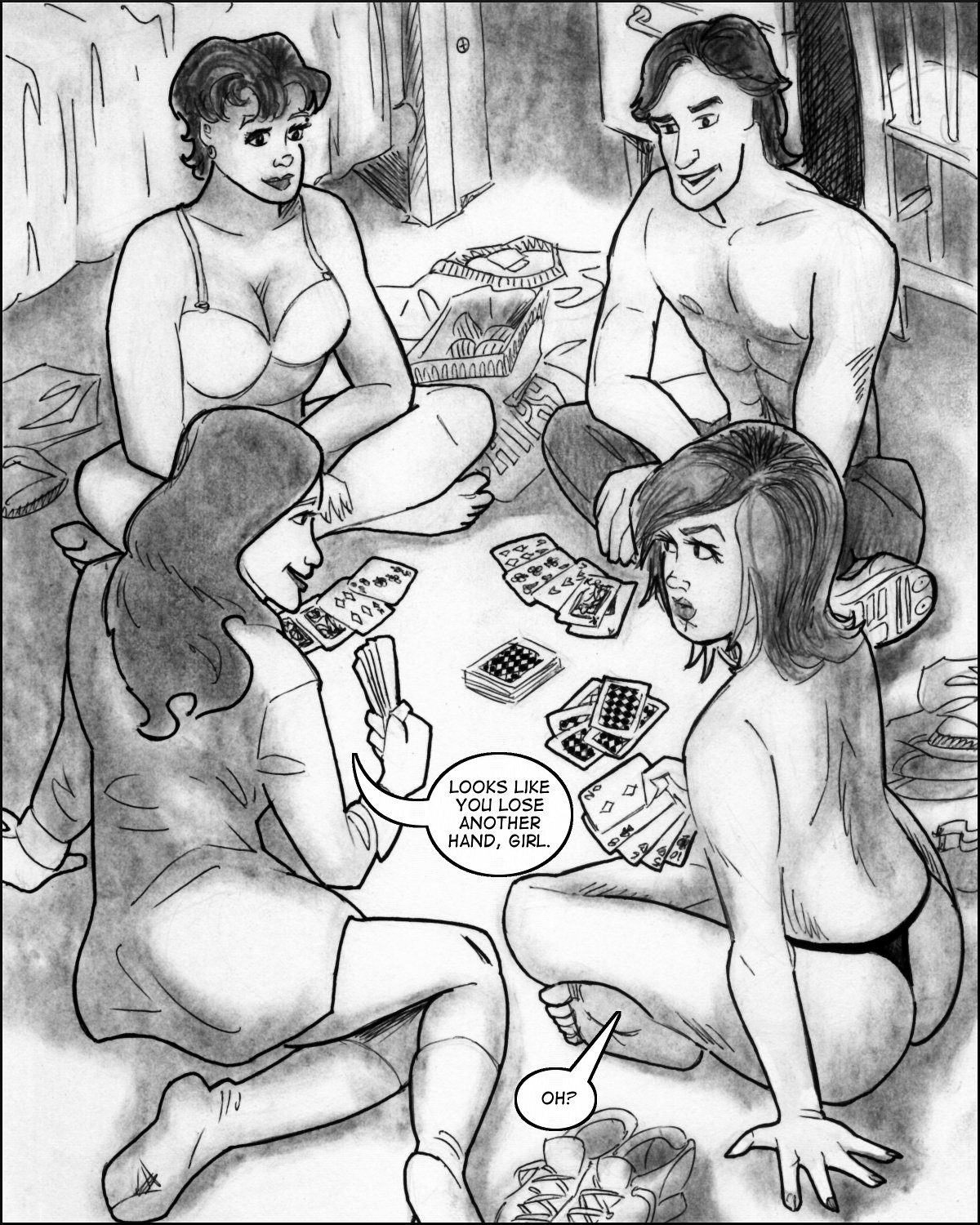 Bill engages in a game of strip poker with his friends.
