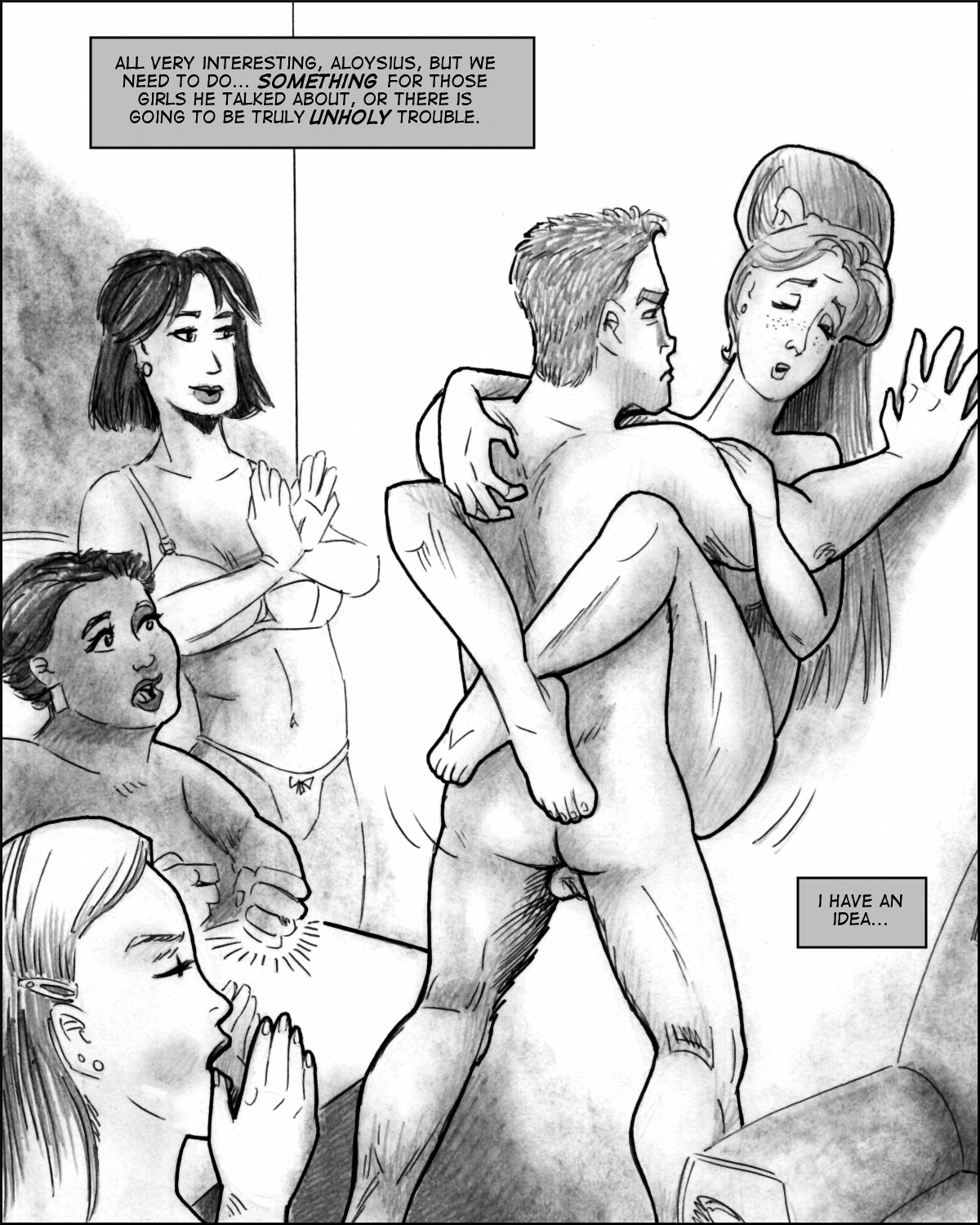 Samson fucks a naked Noreen up against a wall while her roommates applaud.