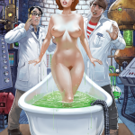 A gorgeous naked Jireen arises from her tub of fluid.