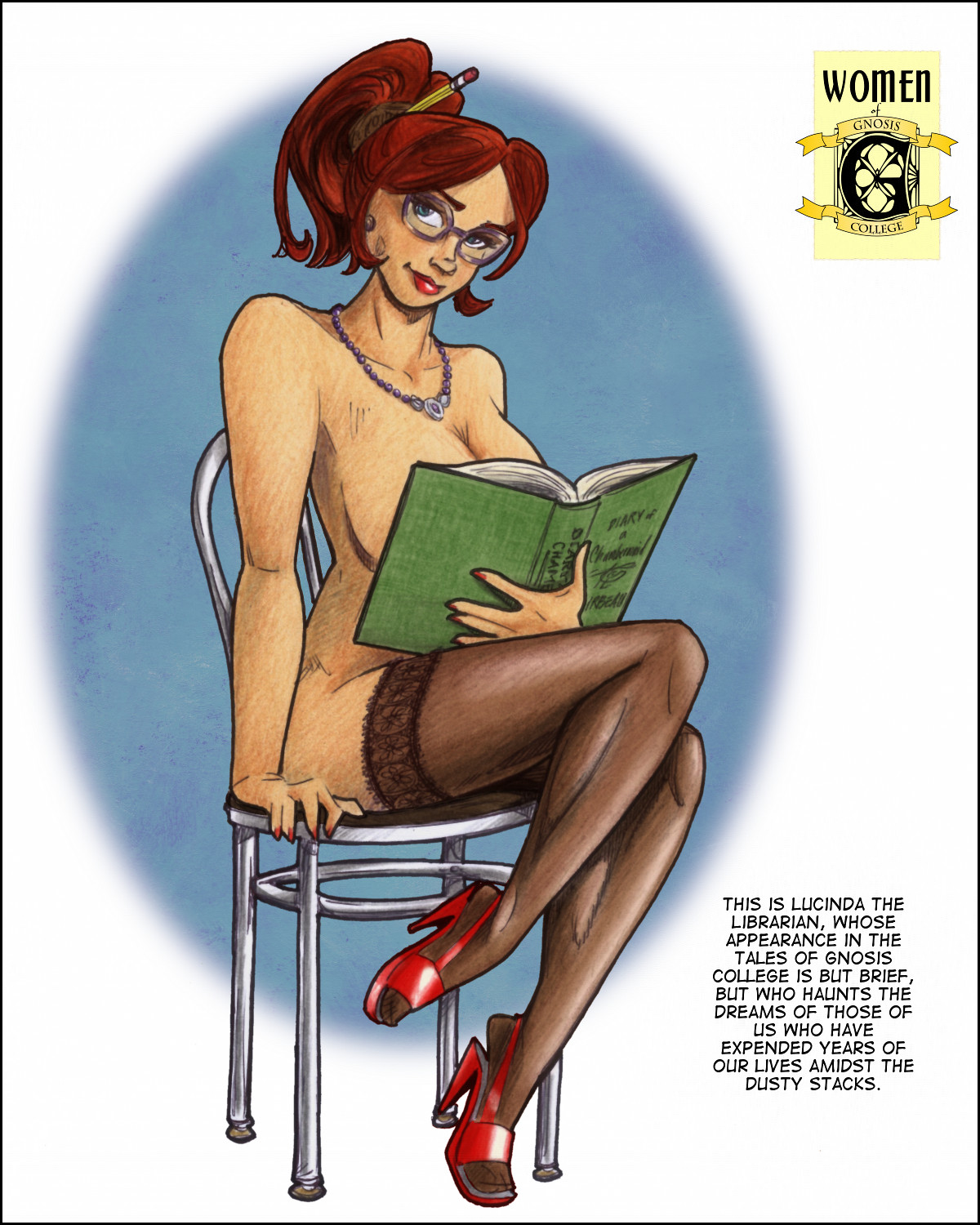 Lucinda the Librarian poses naked but for stockings and a book covering her modesty.