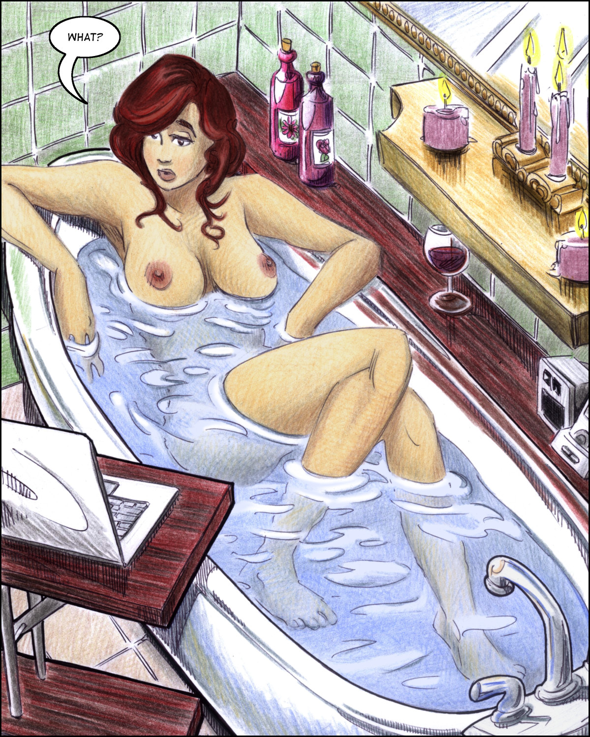 Professor Aphrodite Mora interrupted in her bath.