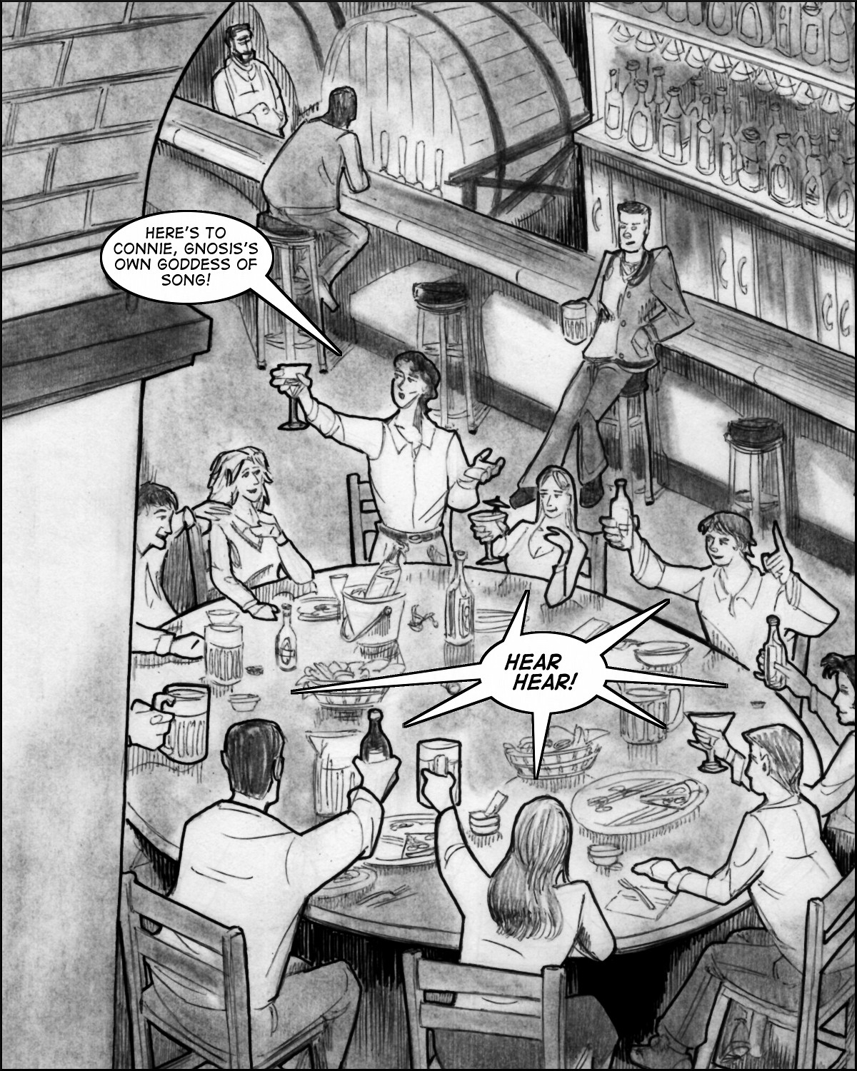 A toast in the student pub.