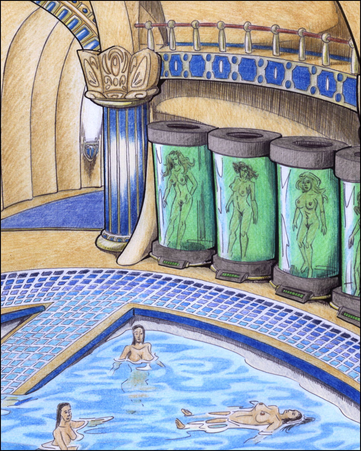 A room full of naked girls, some in tubes, some in a pool.