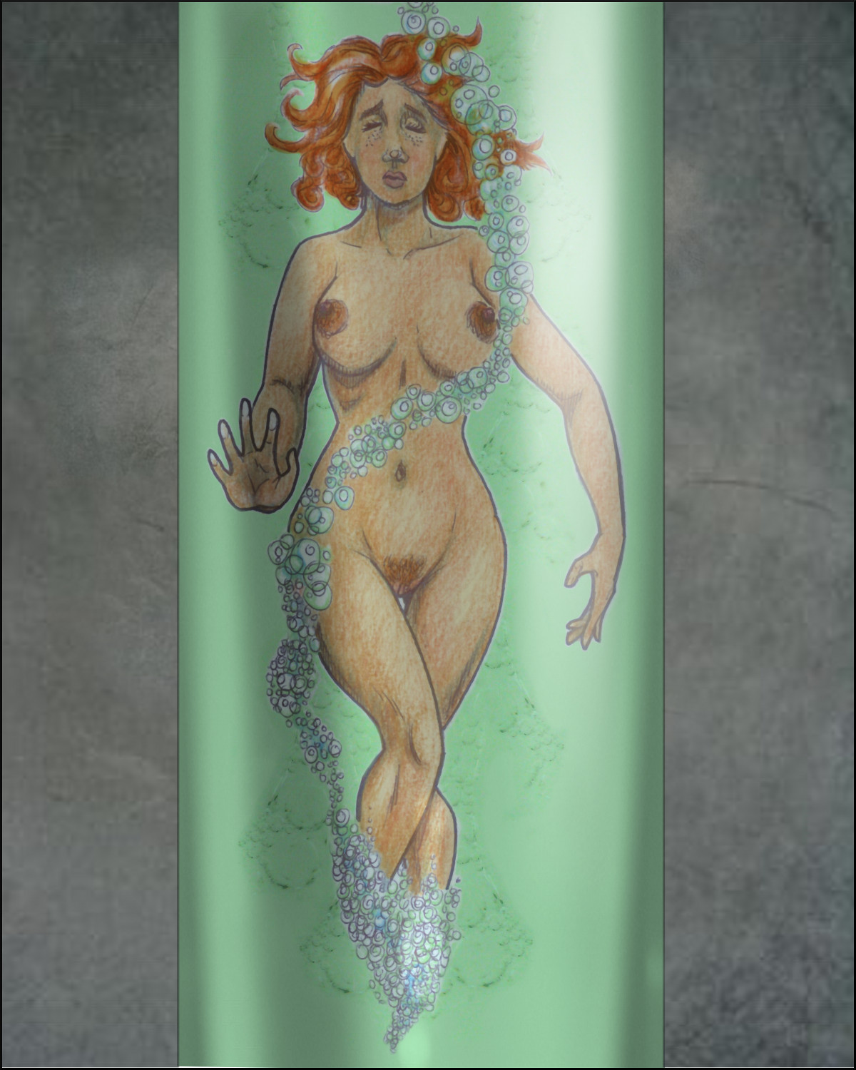 Naked Jireen dissolves in a tube.