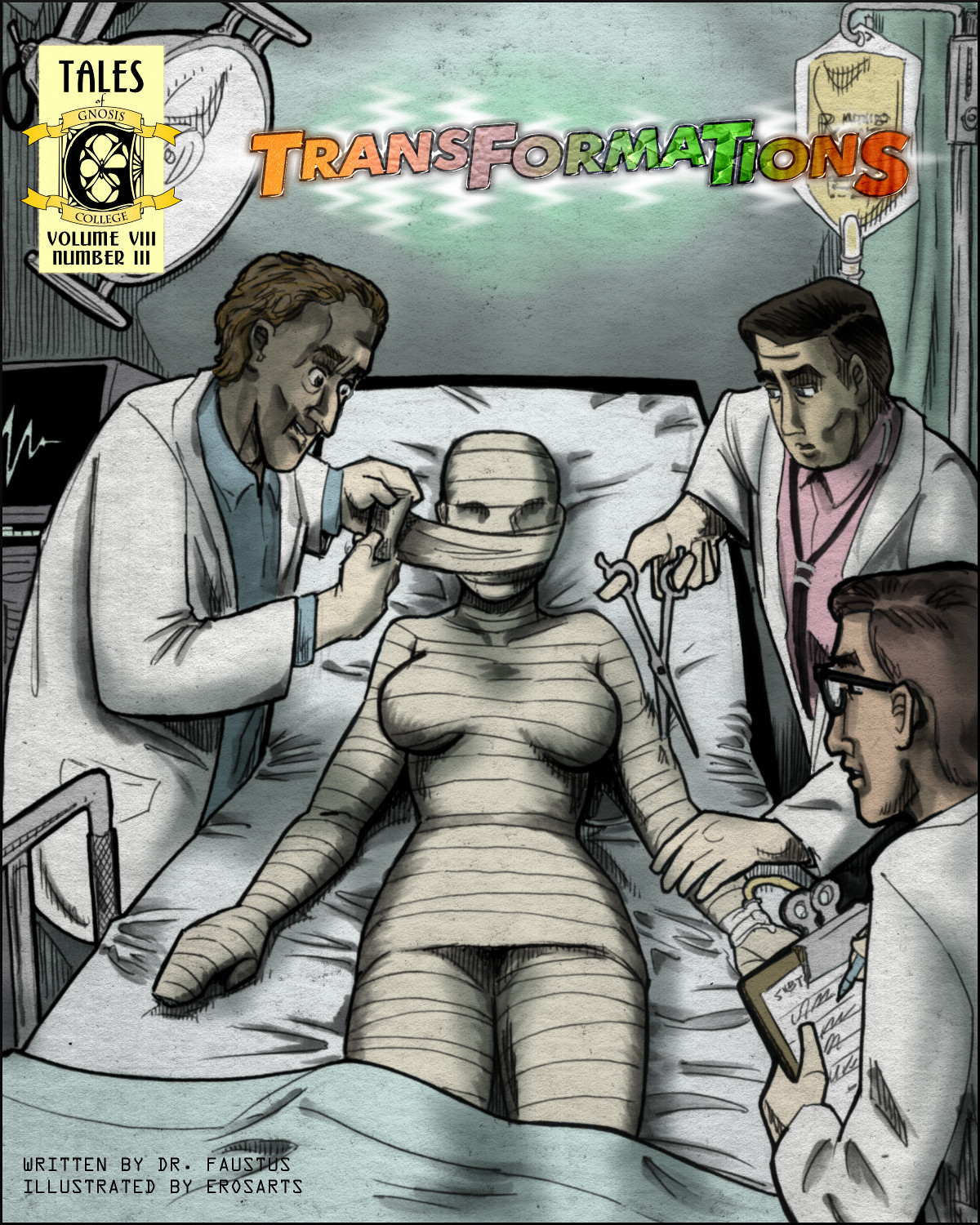 A shapely girl is transformed by mad science, but into what?