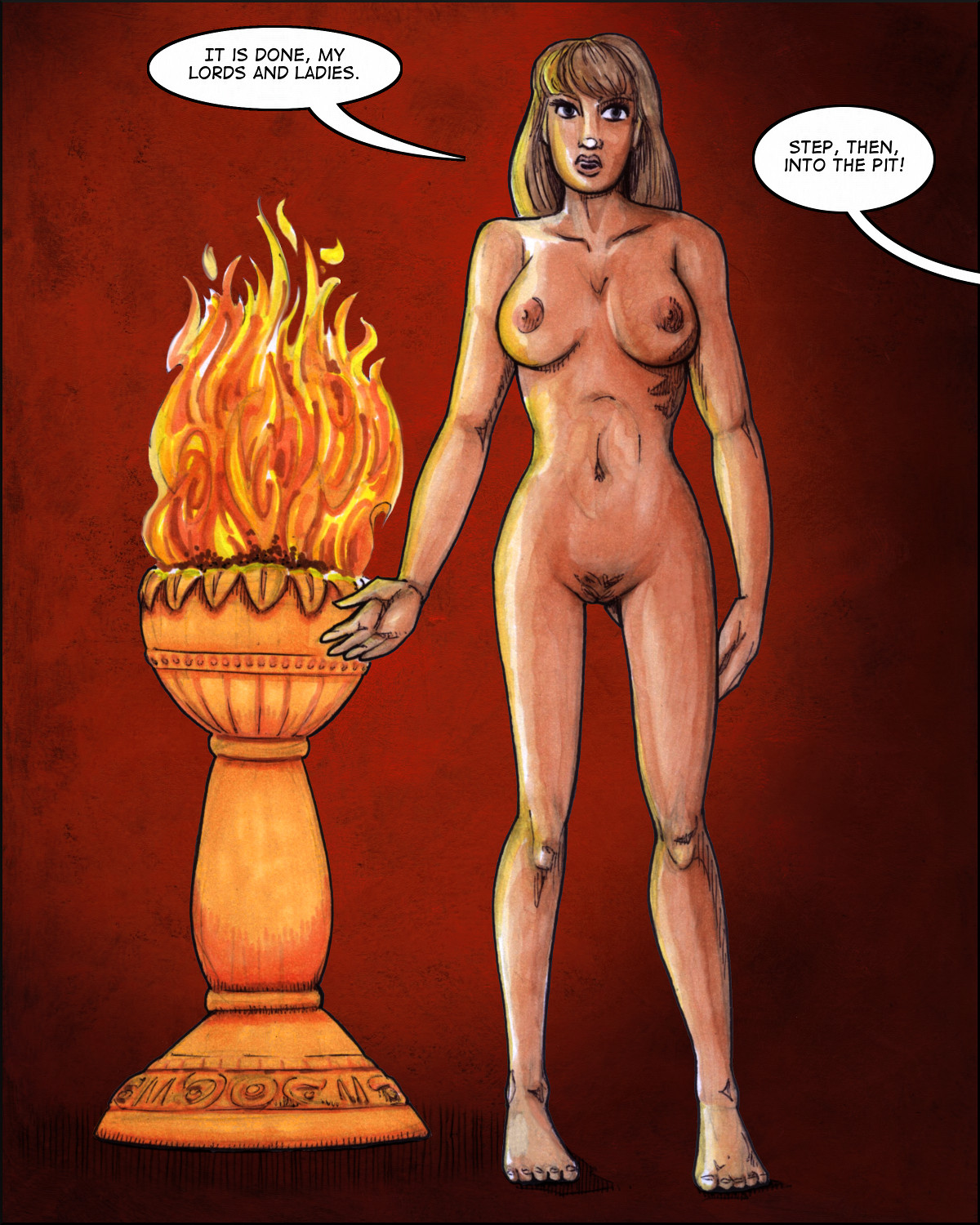 Taylor stands naked in the firelight.