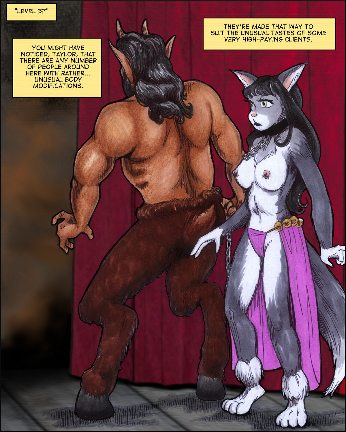 A catgirl and a giant satyr.