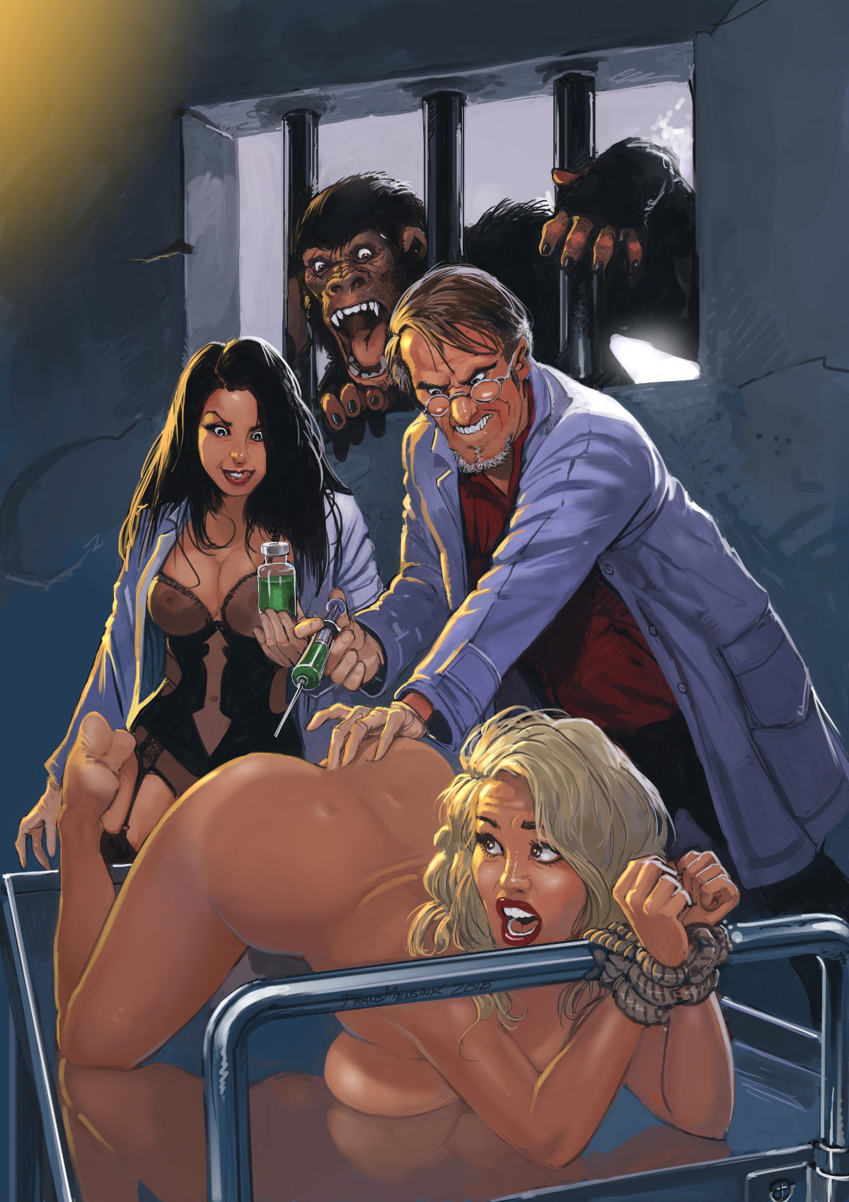 A distressed naked damsel is injected by mad scientists, while an enraged ape looks on.