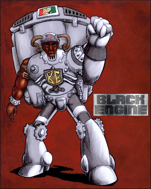 The Black Engine makes an impressive cyborg supervillain.