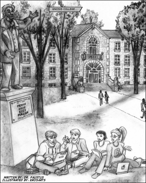 Main building of Gnosis College, the center of a different erotic fictional world.