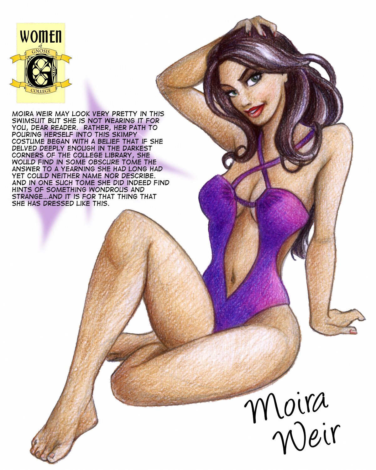 Swimsuit pinup of Moira Weir