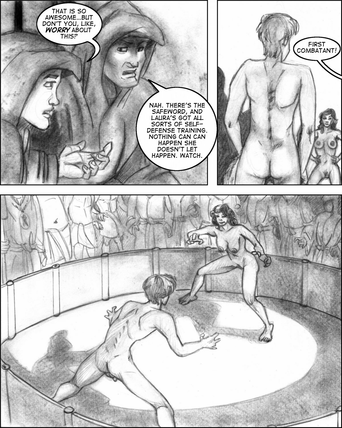 Naked Laura faces off against the first combatant in the Omega initiation.