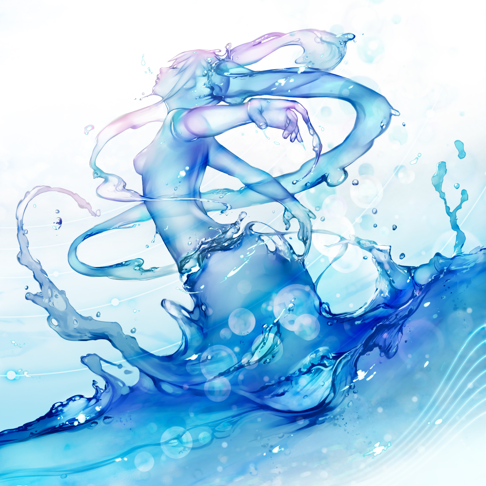 Amazing, exquisite, ecstatic blue liquid girl