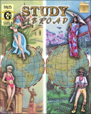 Four heroines on the cover fantasize their studies in foreign parts