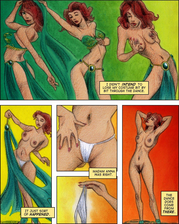 Bridget's belly dance turns into a striptease.