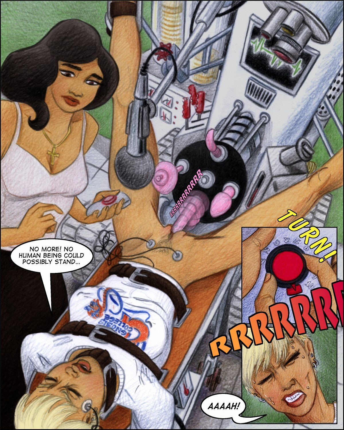 Jill strapped down and fucked by a sex machine controlled by Maria.