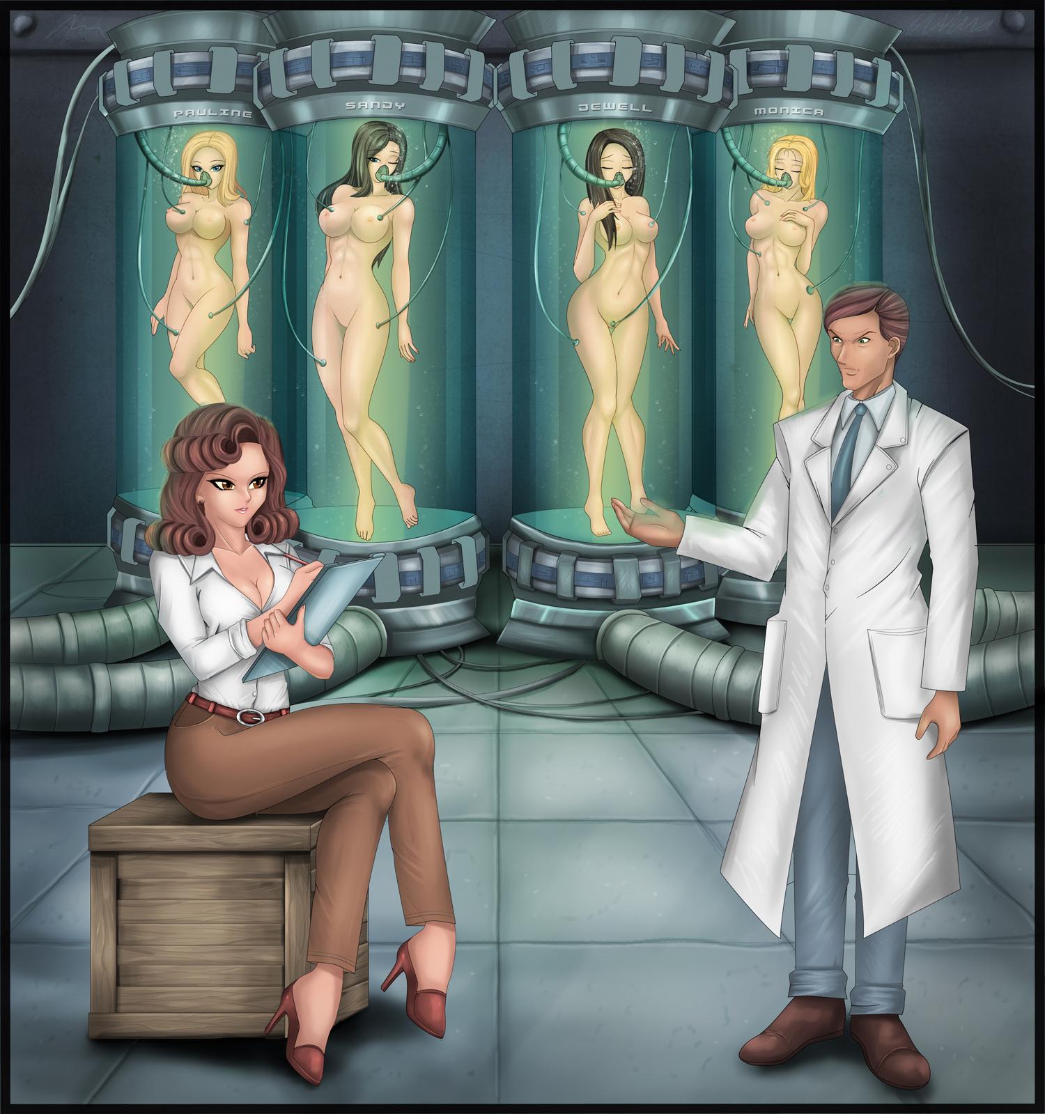 Four naked tube girls are dickered over by Kupler and Strangeways