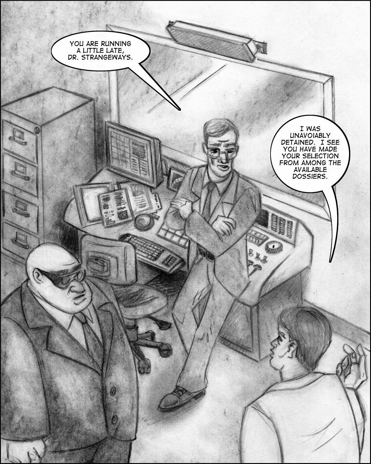 Strangeways meets with Ulrich and the Director in a basement lab.