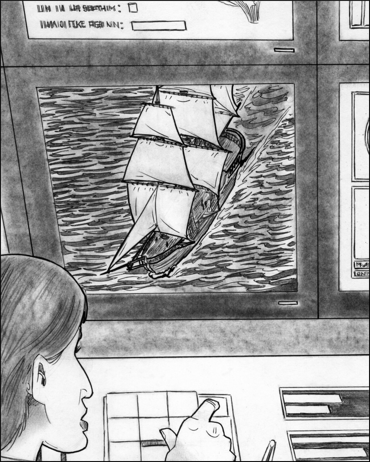 Willie tunes in a dream and sees a three-masted sailing ship.