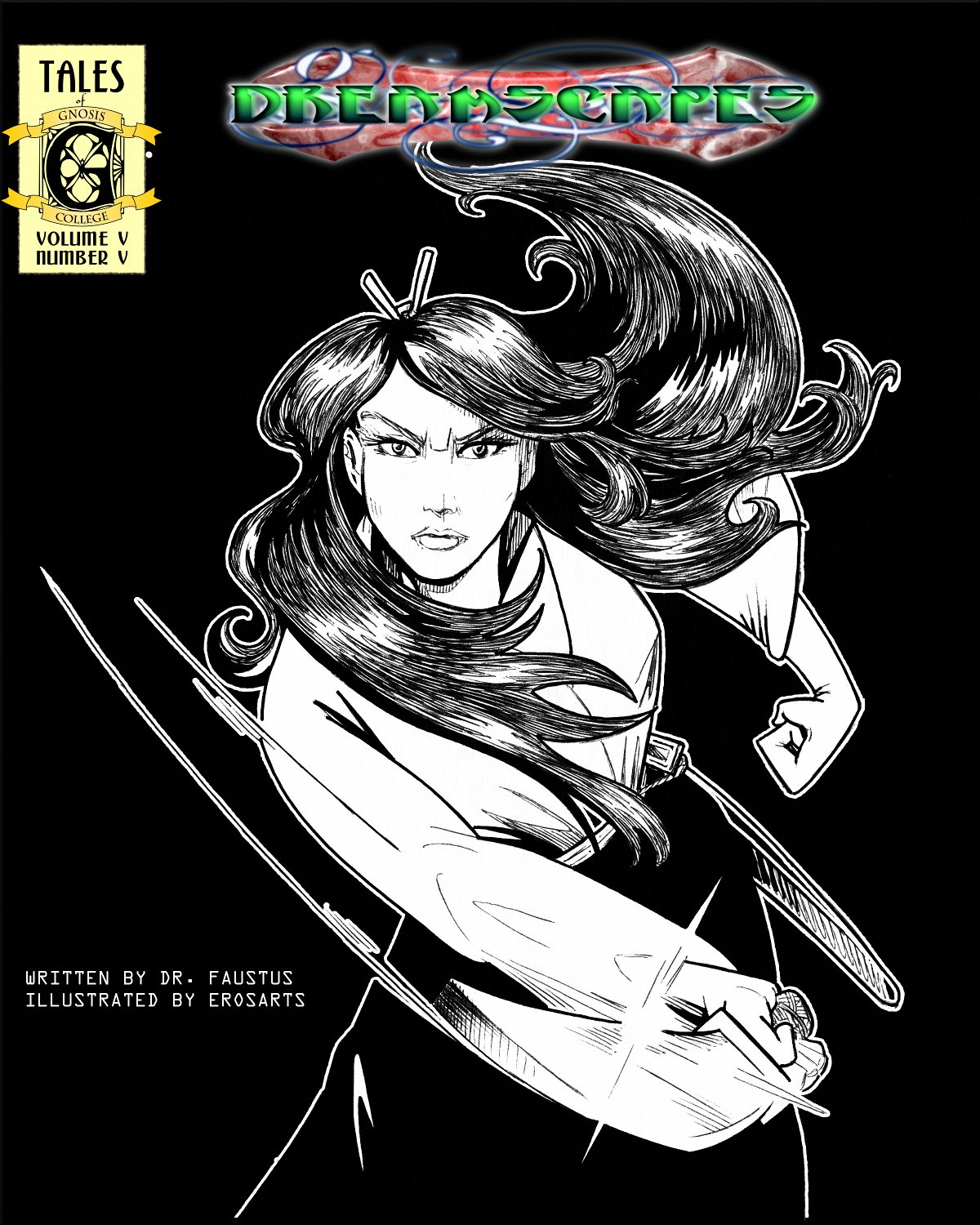 Michiko in black and white as Japanese warrior.