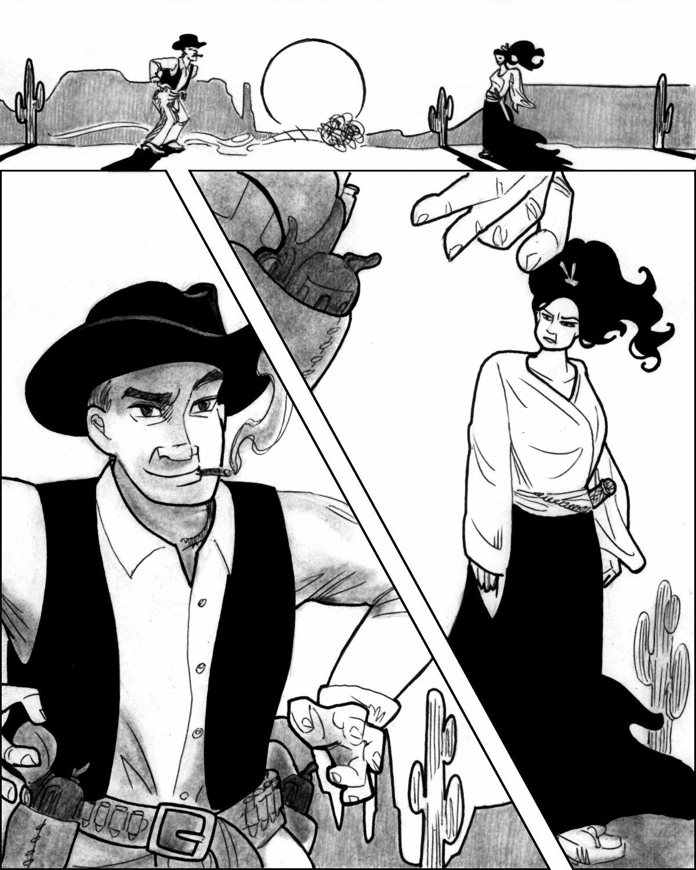 Samurai Michiko and Cowboy Samson face off in desert dreamland.