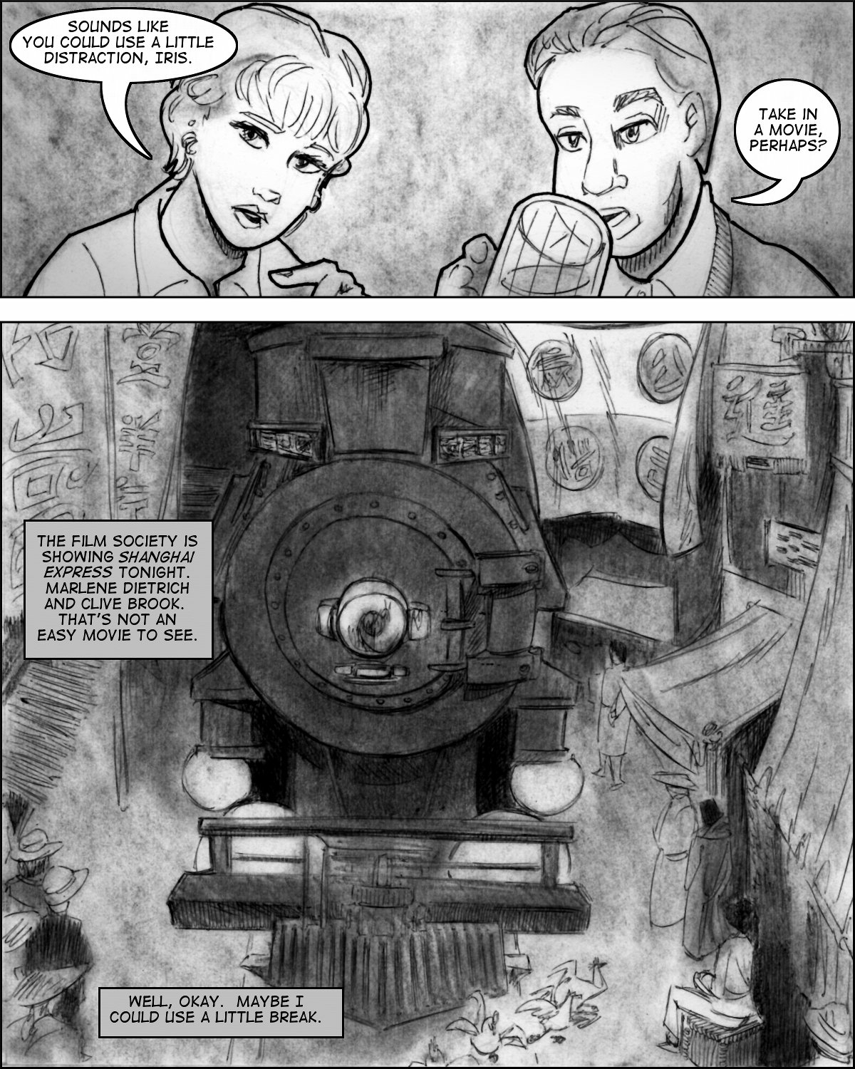 A panel reproduces a famous screenshot from Shanghai Express.