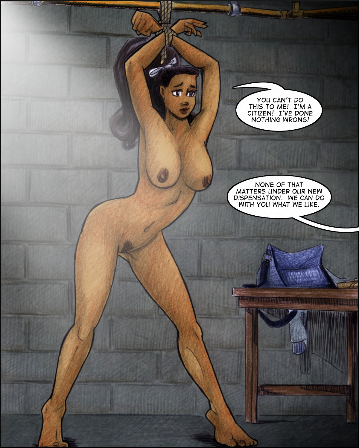 Cleo is bound naked in the basement of the auxiliary gym.